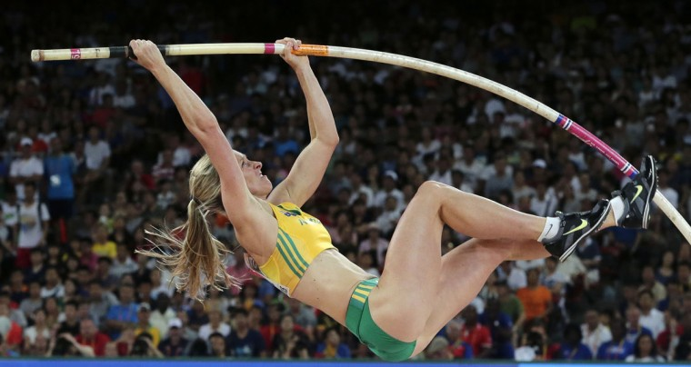 Australia's Alana Boyd competes in the womenís pole vault final at the World Athletics Championships at the Bird's Nest stadium in Beijing, Wednesday, Aug. 26, 2015. (AP Photo/Andy Wong)