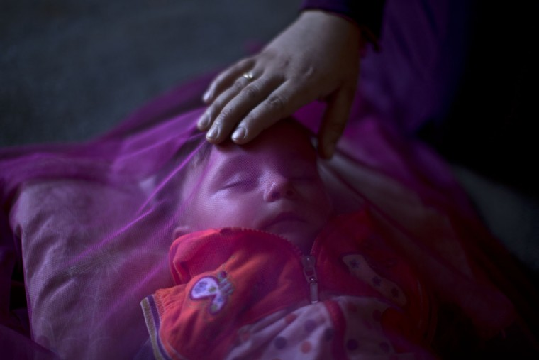 """In this Tuesday, July 21, 2015 photo, Syrian refugee Kutana al-Hamadi, 24, tends to her son Almunzir, 7 months, covered with a mosquito net, whom she claims is suffering from malnutrition, at their tent in an informal tented settlement near the Syrian border on the outskirts of Mafraq, Jordan. """"My son is too weak; my body doesnít produce milk (and) ... we canít afford buying milk,î says Kutana al-Hamadi. ìWe survived the barrel bombs in Syria but Iím afraid we wonít survive the lack of health and food.î (AP Photo/Muhammed Muheisen)"""