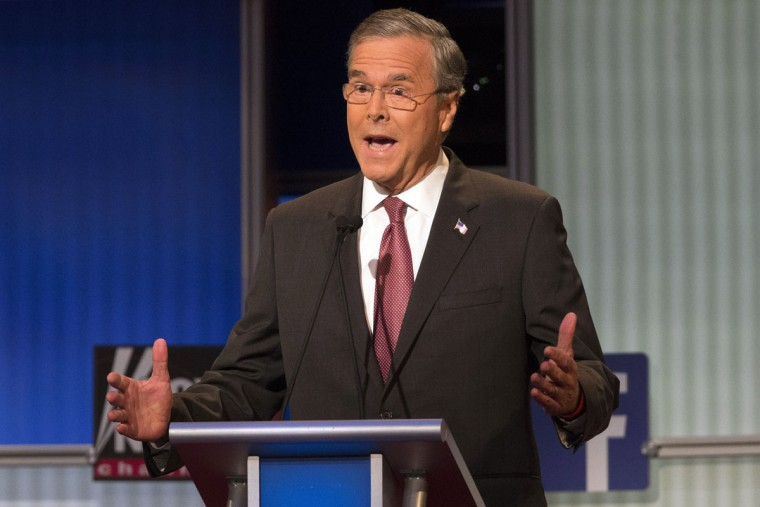 Republican presidential candidate former Florida Gov. Jeb Bush during the first Republican presidential debate at the Quicken Loans Arena Thursday, Aug. 6, 2015, in Cleveland. (AP Photo/John Minchillo)