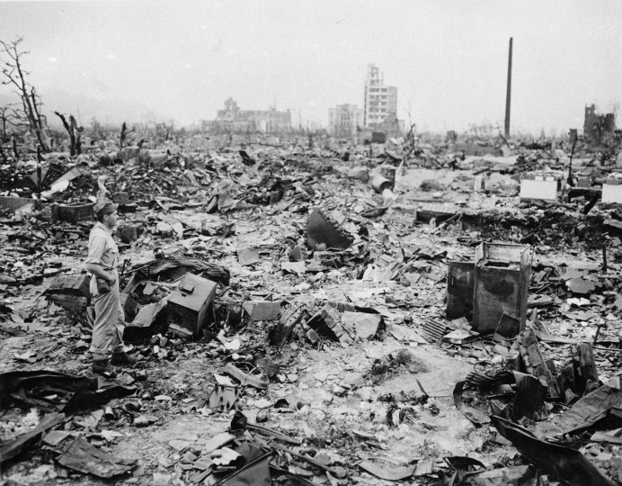FILE - In this Sept. 8, 1945 file photo, only a handful of buildings remain standing amid the wasteland of Hiroshima, the Japanese city reduced to rubble following the first atomic bomb to be dropped in warfare. On Aug. 6, 1945, a U.S. plane dropped an atomic bomb on Hiroshima, the first nuclear weapon has been used in war. Japan surrendered on Aug. 15, ending World War II. (AP Photo/File)