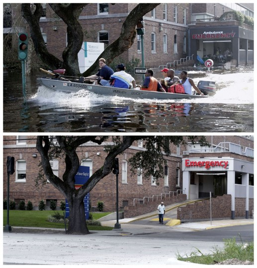In this combination of Wednesday, Aug. 31, 2005 and Thursday, July 30, 2015 photos, patients and staff of the Memorial Medical Center in New Orleans are evacuated by boat after flood waters surrounded the facility, and a decade later, the renamed Ochsner Baptist Hospital. Nearly 2,000 people died because of the storm, mostly in New Orleans, 80 percent of which was flooded for weeks. One million people were displaced. (AP Photo/Bill Haber, Gerald Herbert)
