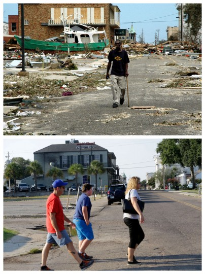 This combination of Aug. 30, 2005 and Aug. 14, 2015 photos shows Odell Harville walking past debris from Hurricane Katrina on Lameuse St. in Biloxi, Miss., and the same site a decade later. The storm caused major damage to the Gulf Coast from Texas to central Florida. (AP Photo/Jay Reeves, Gerald Herbert)