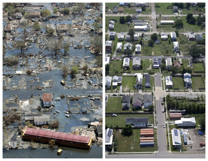 This combination of Sept. 11, 2005 and July 29, 2015 aerial photos show the Lower Ninth Ward of New Orleans flooded by Hurricane Katrina and the same area a decade later. Before Katrina, the Lower Ninth Ward was a working-class and predominantly African-American neighborhood just outside the city's historic center. (AP Photo/David J. Phillip, Gerald Herbert)
