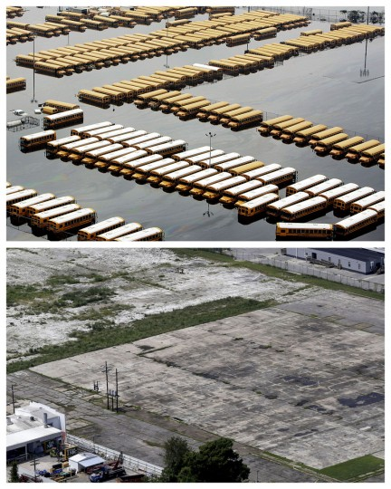 This combination of Sept. 1, 2005 and July 29, 2015 aerial photos show buses parked in a lot flooded by Hurricane Katrina in downtown New Orleans, and the same area a decade later. The storm went down in history as the costliest natural disaster to strike the U.S., with $150 billion in damages to homes and other property. It was also one of the deadliest - nearly 2,000 died. (AP Photo/Phil Coale, Gerald Herbert)