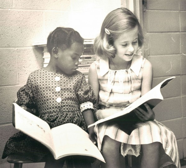 Sharon Smith and April Ellicott register for school at Barclay Elementary School. (Ralph Robinson/Baltimore Sun, 1961)