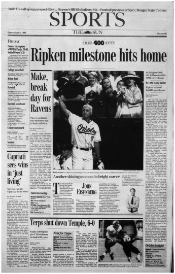 Ripken hits 400th career home run.