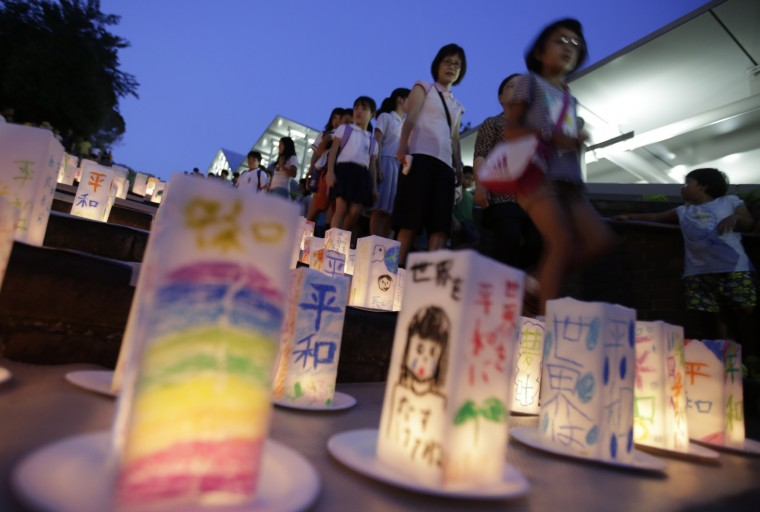 Paper lanterns are placed for the victims of the atomic bombing on Nagasaki on the eve the 70th anniversary of the Nagasaki Atomic Bombing at the Peace Park in Nagasaki, southern Japan Saturday, Aug. 8, 2015. On two days in August 1945, U.S. planes dropped two atomic bombs, one on Hiroshima, one on Nagasaki, the first and only time nuclear weapons have been used. (Eugene Hoshiko/Associated Press)