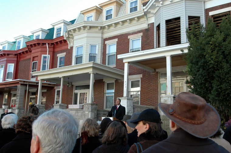 Baltimore City Council member Keiffer Mitchell makes remarks at the program launch of the Baltimore Tzedec Initiative on Brooks Lane in Reservoir Hill on Dec. 14, 2004. The program is a revolving home loan fund to help buyers in low- and moderate-income city neighborhoods. (Baltimore Sun photo by Barbara Haddock Taylor)