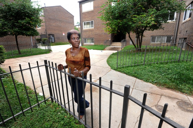 "Rosalyn Gillian, 53, has lived at Madison Park-North since she was born. Her mother moved in when the complex opened in 1973. Gillian raise her three children here. She says, ""I'm glad it's closing. It's about time, because of the killing and drugs and all."" (Algerina Perna/Baltimore Sun/Aug. 3, 2014)"