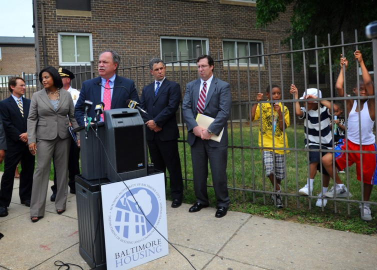 Baltimore City Housing Commissioner Paul T. Graziano, at podium, and other city officials announced plans for the future of the Madison Park North Apartment complex on Aug. 17, 2010. (Baltimore Sun photo by Barbara Haddock Taylor)