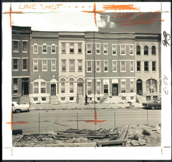 Homes are being rehabbed on this block of Lennox Street in Reservoir Hill. (Baltimore Sun photo by Paul Hutchins / Sept. 9, 1973)