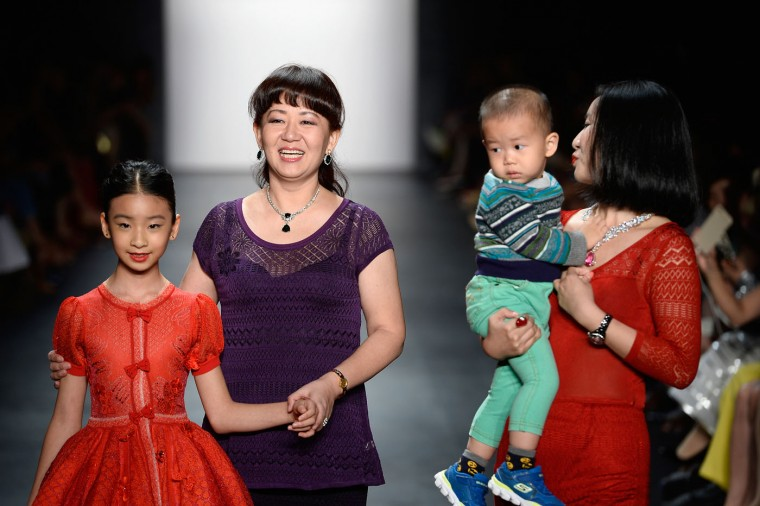 Designer Deng Hao (2nd L) walks the runway for Fashion Shenzhen Spring 2016 during New York Fashion Week: The Shows at The Dock, Skylight at Moynihan Station on September 13, 2015 in New York City. (Fernanda Calfat/Getty Images for NYFW: The Shows)