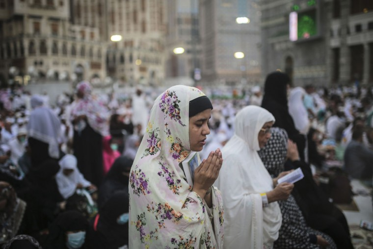 A Muslim Pilgrim prays outside the Grand Mosque in the holy city of Mecca, Saudi Arabia, Sunday, Sept. 20, 2015. Roughly 3 million people from around the world are expected to converge at the Kaaba, in Mina and other nearby areas for the hajj, which lasts about five days. All able-bodied Muslims are required to perform once in their lives. (AP Photo/Mosa'ab Elshamy)