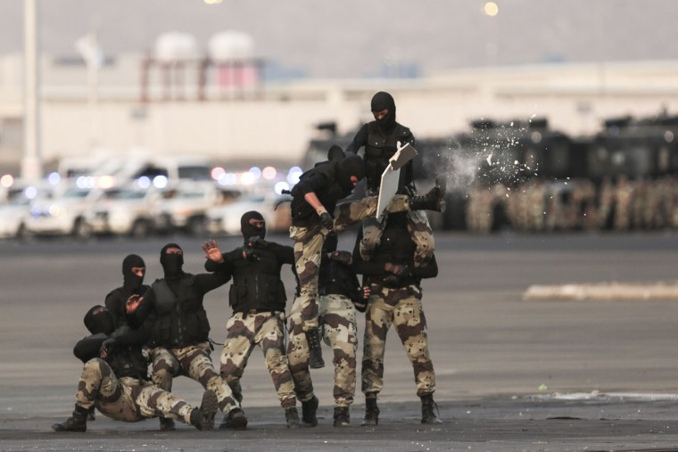 Saudi security forces take part in a military parade in preparation for the annual Hajj pilgrimage in Mecca, Saudi Arabia, Thursday, Sept. 17, 2015. (AP Photo/Mosa'ab Elshamy)