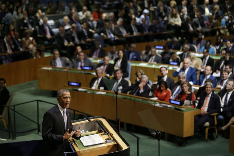 United States President Barack Obama speaks during the 70th session of the United Nations General Assembly at U.N. headquarters, Monday, Sept. 28, 2015. (AP Photo/Seth Wenig)