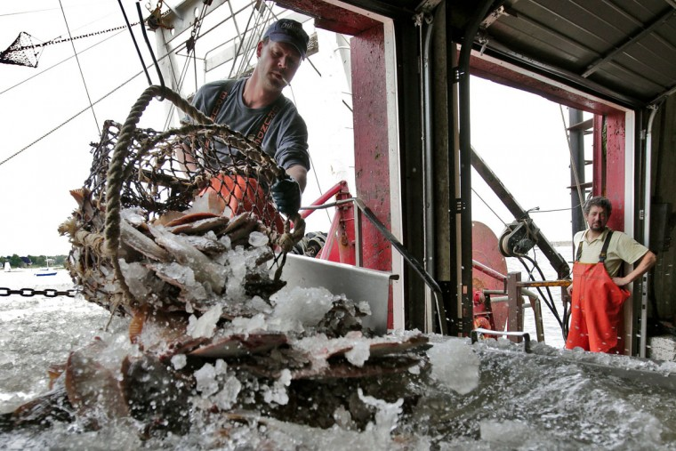 Rui Vinagre unloads yellowtail caught by the Sea Siren at the fish auction house in New Bedford, Mass. The commercial fishing industry still thrives here, though not quite as lucrative as during the mid-1800s when the city was the undisputed hub of the global whaling industry. (Peter Pereira/The Standard-Times via AP)