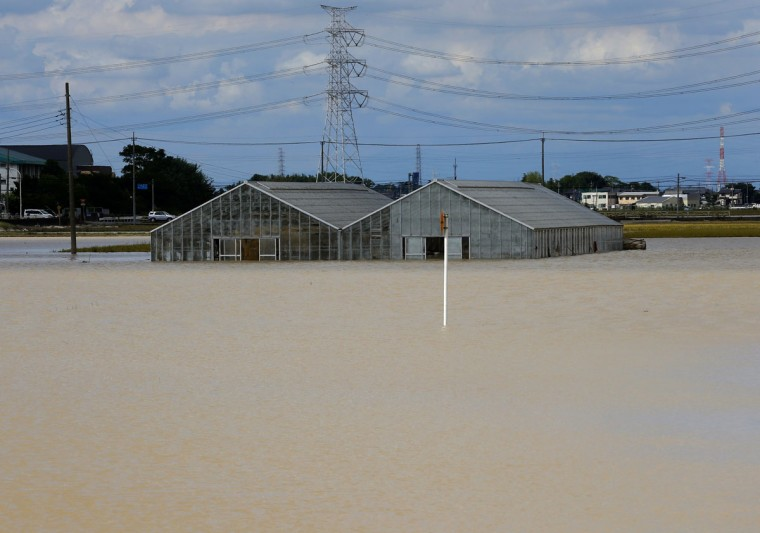 Greenhouses are submerged in the flood water from the swollen Kinugawa River in Joso, Ibaraki Prefecture, north of Tokyo, Friday, Sept. 11, 2015. Houses lean forward, knocked partially off their foundations. The worst-hit are gone, their still-intact blue-tiled roofs left sitting on debris-strewn mud. The floodwaters have receded somewhat, but a vast area of the Japanese city of Joso remains inundated by a sea of brown water. (AP Photo/Shizuo Kambayashi)