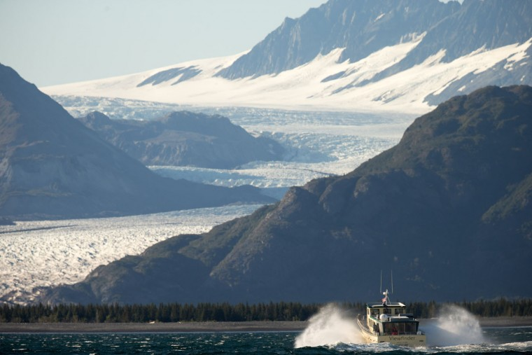 A boat carrying President Barack Obama makes its way to Bear Glacier, which has receded 1.8 miles in approximately 100 years while on a boat tour to see the effects of global warming in Resurrection Cove, Tuesday, Sept. 1, 2015, in Seward, Alaska. Obama is on a historic three-day trip to Alaska aimed at showing solidarity with a state often overlooked by Washington, while using its glorious but changing landscape as an urgent call to action on climate change. (AP Photo/Andrew Harnik)