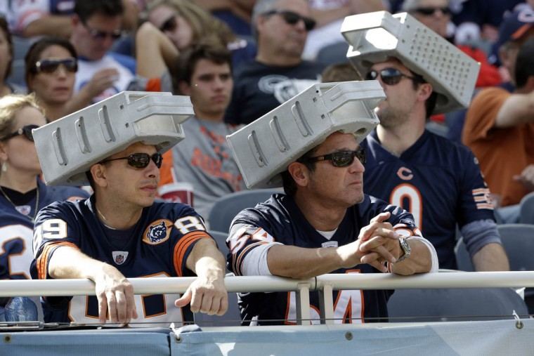 Chicago Bears fans watch during the second half an NFL football game against the Green Bay Packers, Sunday, Sept. 13, 2015, in Chicago. (Nam Y. Huh/AP photo)