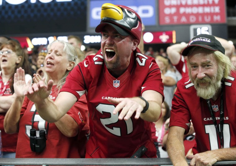 Arizona Cardinals fans cheer during the first half of an NFL football game against the New Orleans Saints, Sunday, Sept. 13, 2015, in Glendale, Ariz. (Ross D. Franklin/AP photo)
