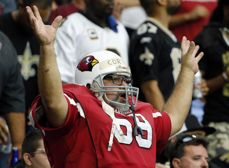 Arizona Cardinals fans cheer during the second half of an NFL football game against the New Orleans Saints, Sunday, Sept. 13, 2015, in Glendale, Ariz. (Ross D. Franklin/AP photo)