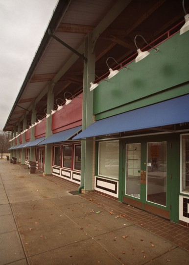 January 2000 -- The Belvedere Square shopping center in North Baltimore is now faced with a large percentage of unoccupied space. (Doug Kapustin/Baltimore Sun)