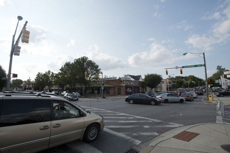The intersection of E. Belvedere Ave. and York Rd. bustles with rush hour traffic. (Emma Patti Harris/Baltimore Sun)