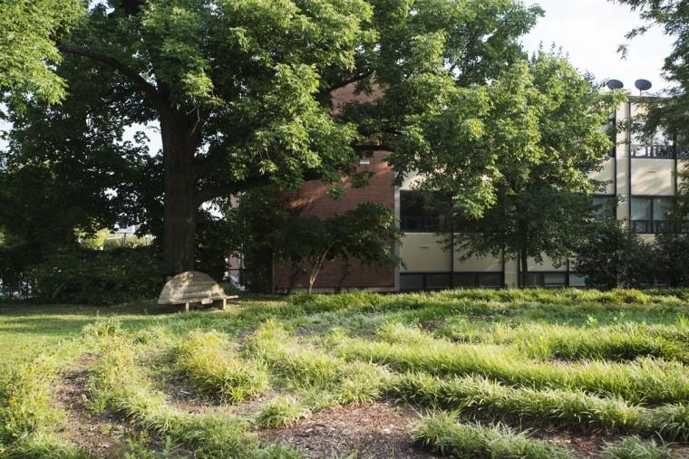 A peaceful garden sits beside Govans Presbyterian Church. (Emma Patti Harris/Baltimore Sun)