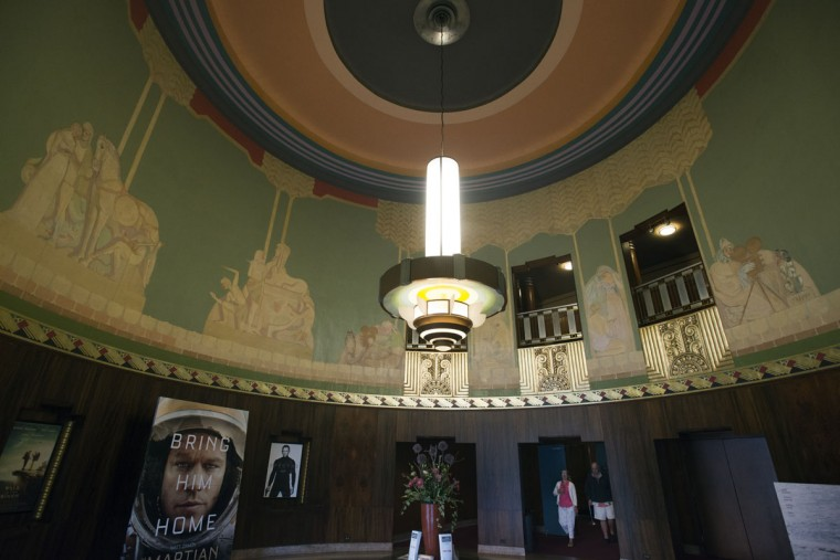 The lobby of The Senator features the original terrazzo floors and other art deco accents from when the landmark was built, all designed by architect John Jacob Zink. (Emma Patti Harris/Baltimore Sun)