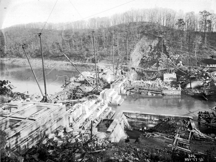 A view of the construction of the Loch Raven dam. (Photo courtesy of the Baltimore Department of Public Works)