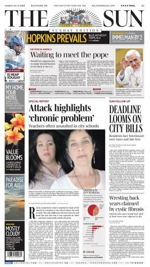 Baltimore Sun front page, April 13, 2008.