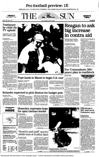 Baltimore Sun front page, Sept. 11, 1987.