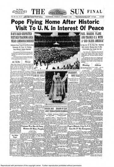 Baltimore Sun front page, Oct. 5, 1965.