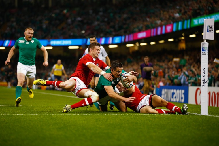 Jonathan Sexton of Ireland scores his teams third try during the 2015 Rugby World Cup Pool D match between Ireland and Canada at the Millennium Stadium on September 19, 2015 in Cardiff, United Kingdom. (Laurence Griffiths/Getty Images)