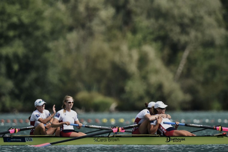 From left, USA's Kristine O'Brien, Grace Latz, Adrienne Martelli and Grace Luczak celebrate as they win the A Final in the women's coxless quadruple, on September 4, 2015 in Aiguebelette-le-Lac, during the world rowing championships. (JEFF PACHOUD/AFP/Getty Images)