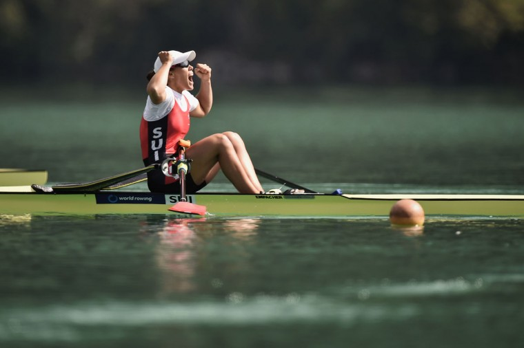 Switzerland's Jeannine Gmelin celebrates as she wins the A/B semifinal in the women's single sculls, on September 4, 2015 in Aiguebelette-le-Lac, during the world rowing championships. (JEFF PACHOUD/AFP/Getty Images)