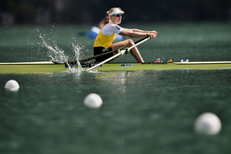 Switzerland's Jeannine Gmelin wins the A/B semifinal in the women's single sculls, on September 4, 2015 in Aiguebelette-le-Lac, during the world rowing championships. (JEFF PACHOUD/AFP/Getty Images)