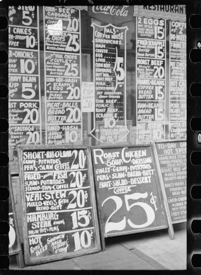 Baltimore, Maryland. Restaurant sign on Baltimore street. (Arthur Rothstein / April 1939)