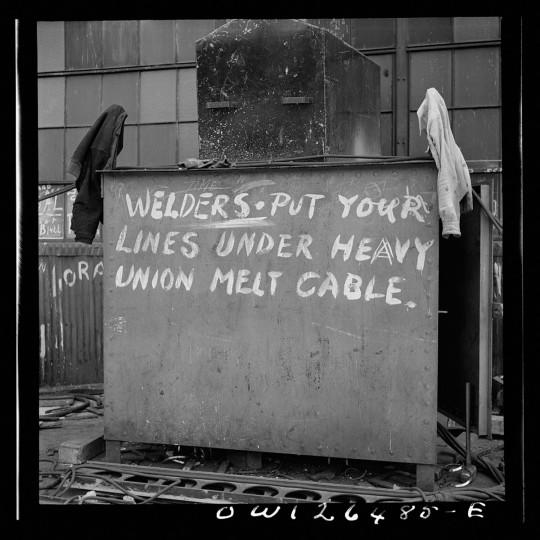 Bethlehem-Fairfield shipyards, Baltimore, Maryland. Shipyard sign. (Arthur S. Siegel / May 1943)