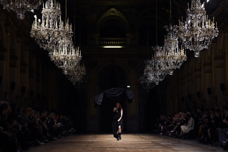 A model presents a creation by Yohji Yamamoto during the 2016 Spring/Summer ready-to-wear collection fashion show. (Miguel Medina/AFP Getty Images)