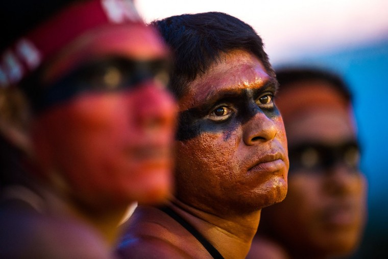 Indigenous people from several tribes are pictured at the sports arena during the first World Games for Indigenous Peoples on October 27, 2015 in Palmas, Brazil. (Photo by Buda Mendes/Getty Images)