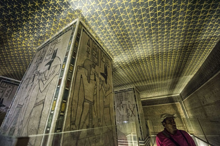 A picture taken on September 29, 2015 shows a wall relief inside Horemheb tomb at the Valley of the Kings, close to Luxor, 500 kms south of Cairo. (KHALED DESOUKI/AFP/Getty Images)