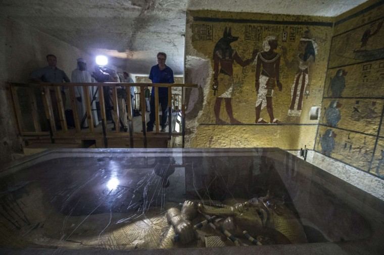A picture taken on September 29, 2015 shows the golden sarcophagus of King Tutankhamun in his burial chamber at the Valley of the Kings, close to Luxor, 500 kms south of Cairo. (KHALED DESOUKI/AFP/Getty Images)