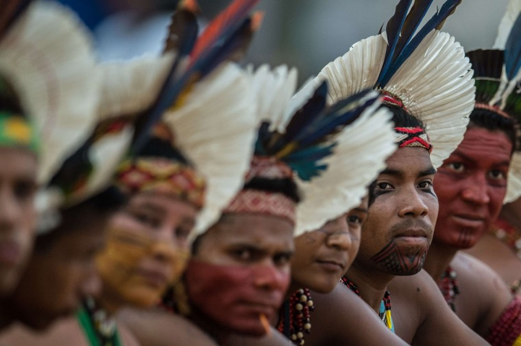 Brazilian indigenous people attend the competitions during the first World Indigenous Games in Palmas, Tocantins, Brazil on October 25, 2015, Brazil. (CHRISTOPHE SIMON/AFP/Getty Images)