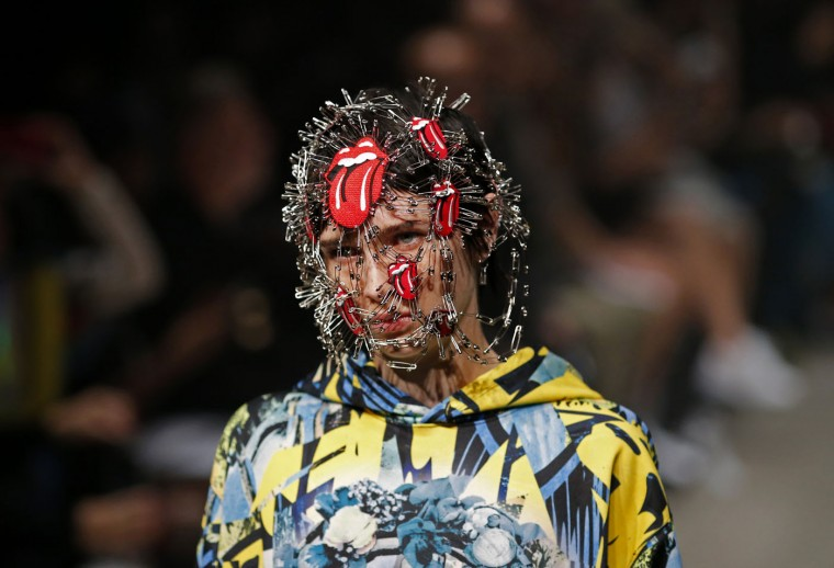 A model displays creations by PLASTICTOKYO designer Keisuke Imazaki during the 2016 Spring/Summer show at Tokyo Fashion Week Tuesday, Oct. 13, 2015. (AP Photo/Shuji Kajiyama)