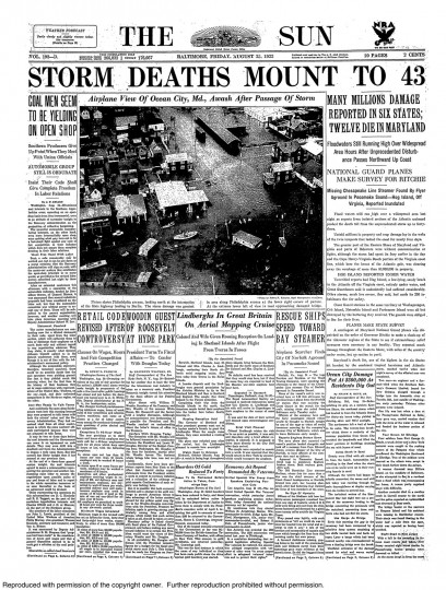 August 25 1933 - Millions of damage reported in six states, 12 die in Maryland.