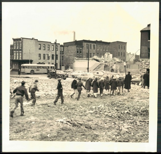 Ground breaking for the Flag House Court housing projects begins on Feb. 4, 1954. (Baltimore Sun photo by W.M. Klender)