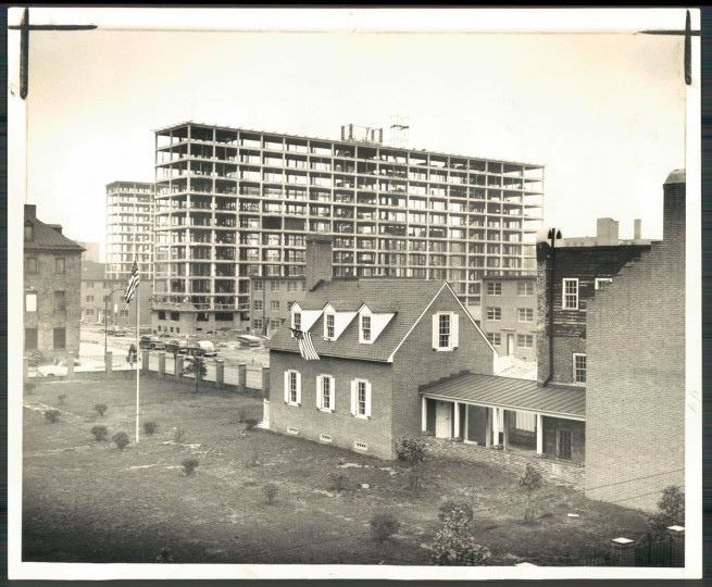 The Flag House Courts housing projects are being built on March 5, 1955. (Baltimore Sun photo by W.M. Klender)