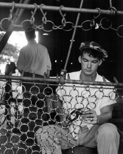 1953 - One of Melvin Collier's employees works on an oyster dredge. Melvin Collier, a Deals Island blacksmith, was famous for his oyster dredges. (A. Aubrey Bodine/Baltimore Sun)