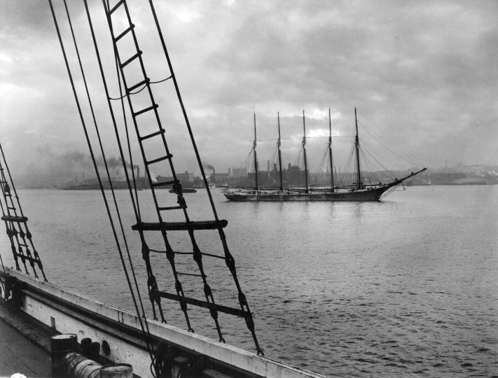 "1936-The ""Edna Hoyt"" is pictured in the lower harbor. She is the last five-master vessel. This photograph was made in Baltimore harbor from the four-masted ""Doris Hamlin."" (A. Aubrey Bodine/Baltimore Sun)"
